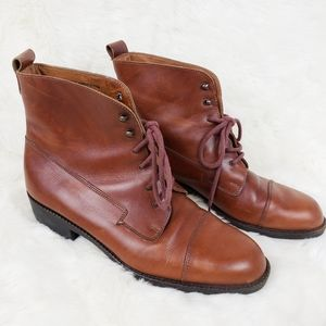 Eddie Bauer Brown Leather Lace Up Ankle Booties .